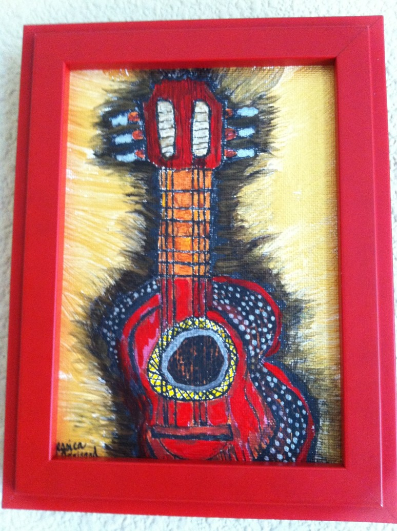 Guitar framed red